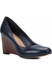 Scarpin Couro Shoestock Salto Médio Anabela - Feminino-Marinho