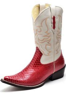 Bota Country Bico Fino Top Franca Shoes Anaconda - Masculino-Vermelho Claro+Branco