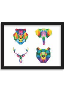 Quadro Decorativo Animais Abstrato Colorido Preto - Grande