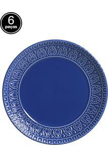 Jogo De Pratos Sobremesa 6 Pçs Greek Azul Navy Porto Brasil