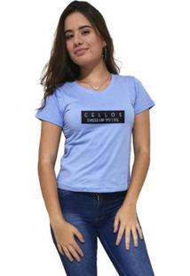 Camiseta Gola V Cellos To Life Premium Feminina - Feminino-Azul Claro
