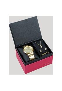 Kit De Relógio Analógico Lince Feminino + Brinco + Colar - Lrgj079L Kd83C2Kx Dourado