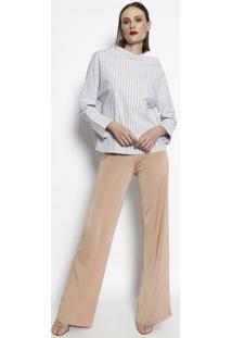 Blusa Assimétrica Listrada- Branca & Azul Marinho- Ccotton Colors Extra