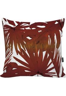 Capa De Almofada Red Foliage- Laranja Escuro & Branca