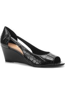 Peep Toe Couro Shoestock Anabela Croco - Feminino