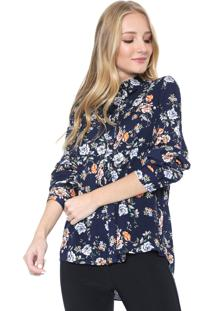 Camisa Facinelli By Mooncity Floral Azul-Marinho
