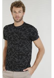Camiseta Masculina Slim Fit Estampada Manga Curta Gola Careca Cinza Mescla Escuro