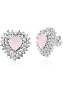 Brinco Le Diamond Coração Com Zircônia Rosa - Kanui