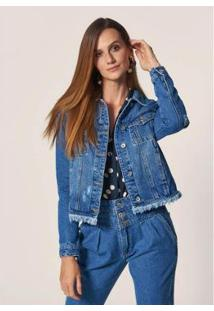 Jaqueta Jeans Mob Com Bolsos E Lapela Puídos Destroyer Feminina - Feminino-Azul Escuro