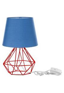 Abajur Diamante Dome Azul Com Aramado Vermelho