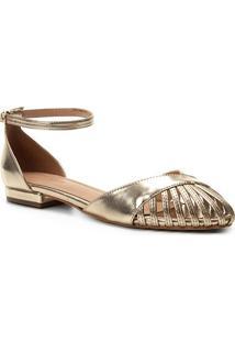 Sandália Shoestock Metalizada Feminina - Feminino-Dourado