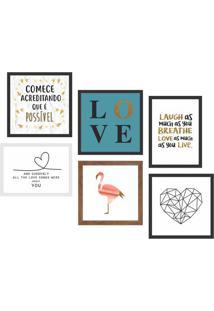Conjunto Com 6 Quadros Decorativos Good Vibe L Colorido