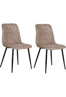 Conjunto Com 2 Cadeiras De Jantar Tervo Pernas Em Metal Marrom Claro