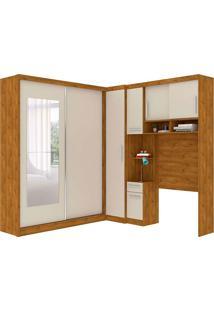 Dormitório De Solteiro Labrador Robel C/ Espelhos Nature Off White Robel Móveis