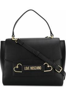 Love Moschino Bolsa Tote Com Placa De Logo - Preto