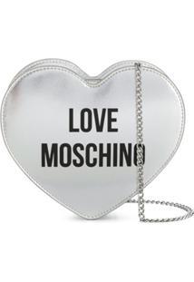 Love Moschino Heart-Shaped Logo Shoulder Bag - Prateado