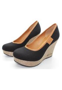 Scarpin Barth Shoes Land Sl Juta Ouro Lona - Preto