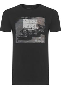 Camiseta Masculina Estampada Rebel - Preto