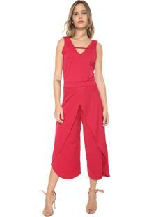 Macacão Marialícia Pantalona Sobreposição Pink