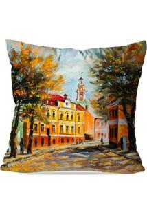 Capa De Almofada Avulsa Decorativa Pintura Cidade 35X35Cm