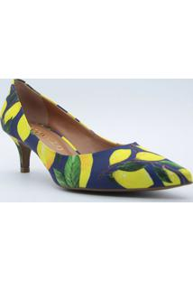 Scarpin Limãµes- Azul Escuro & Amarelo- Salto: 5,5Cmcecconello