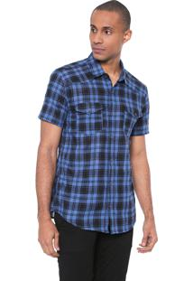Camisa Calvin Klein Jeans Slim Xadrez Azul