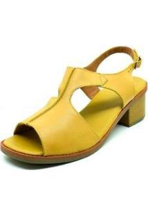 Sandália Couro Dani K Salto Baixo Confort Feminina - Feminino-Amarelo