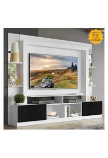 "Rack C/ Painel Tv 65"" Prateleiras C/ Espelho Oslo Multimóveis Branco/Preto"