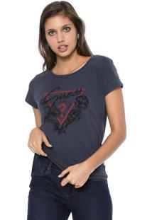 Blusa Guess Flores Logo Azul-Marinho