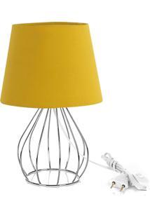 Abajur Cebola Dome Amarelo Mostarda Com Aramado Cromado