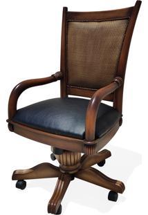 Cadeira Com Braço Giratória Victory Palha Madeira Maciça Design Clássico Avi Móveis