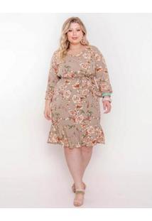 Vestido Plus Size Palank Hortênsia Feminino - Feminino-Areia