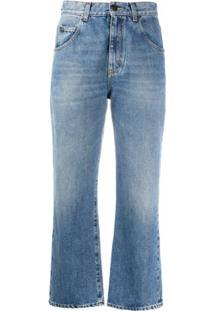 Saint Laurent Calça Jeans Cropped Cintura Média - Azul