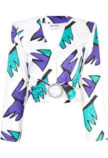 Attico Blusa Cropped Com Estampa - Branco