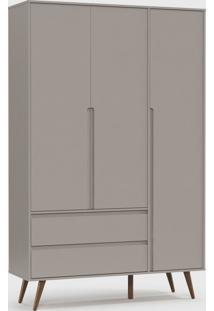 Roupeiro Retrã´ Clean 3 Portas Cinza / Eco Wood - Cinza - Dafiti