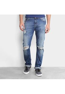 Calça Jeans Slim Opera Rock Destroyed Masculina - Masculino-Azul