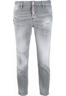 Dsquared2 Calça Jeans Cropped Com Efeito Desgastado - Cinza