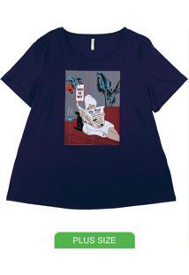 T-Shirt Plus Size Com Estampa Azul