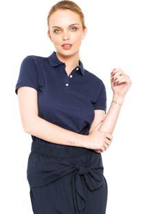 Camisa Polo Calvin Klein Ajustada Azul-Marinho