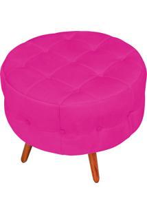 Puff Decorativo Botonê Yasmin Suede Pink Pés Palito - D'Rossi