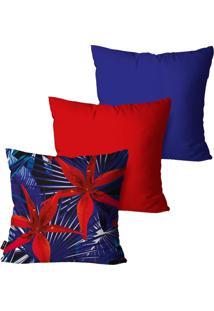 Kit Com 3 Capas Para Almofadas Pump Up Decorativas Azul Floral 45X45Cm