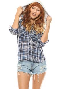 Camisa Manga Longa Lady Rock Xadrez Azul
