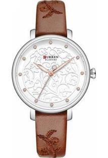 Relógio Curren Analógico C9046L Feminino - Feminino-Prata+Marrom
