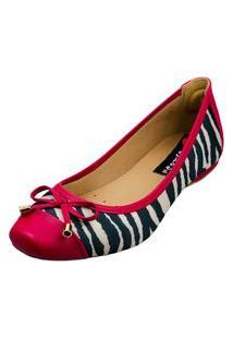 Sapatilha Bico Quadrado Love Shoes Confort Zebra Laçinho Pink
