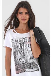 Camiseta Enfim City Girl Branca - Kanui