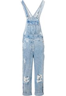 Balmain Macacão Jeans Com Detalhes Puídos - Azul