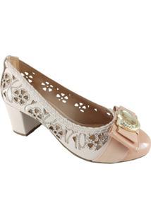 Scarpin Floral Sapatoweb Laser - Feminino-Bege