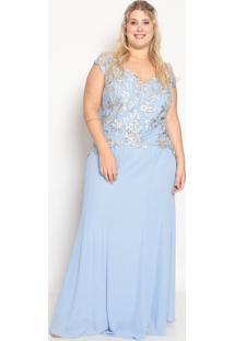 Vestido Longo Floral Com Bordado- Azul & Off White- Pianeta