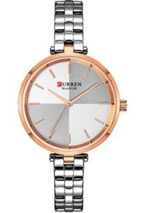 Relógio Curren Analógico C9043L Feminino - Feminino-Prata