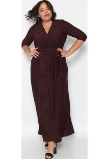 Vestido Longo Listrado - Preto & Vermelho Escuro- Pipianeta